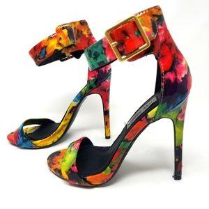 Steve Madden Floral Ankle Strap Stilettos Size 6